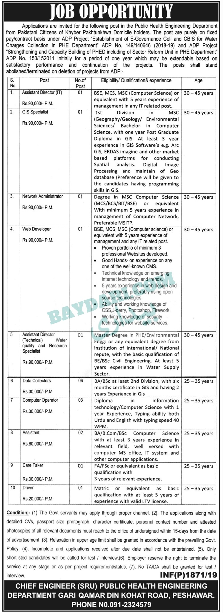 Jobs In Public Health Engineering Department 29 Apr 2019 18
